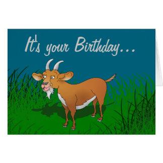 Tarjeta de cumpleaños marrón barbuda de la cabra