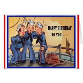 Tarjeta de cumpleaños militar de la marina de guer