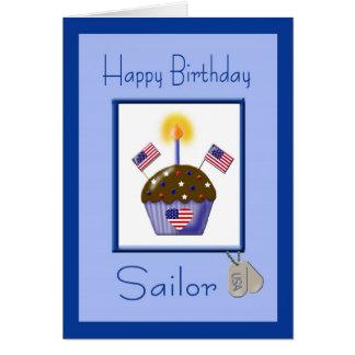 Tarjeta de cumpleaños militar del marinero