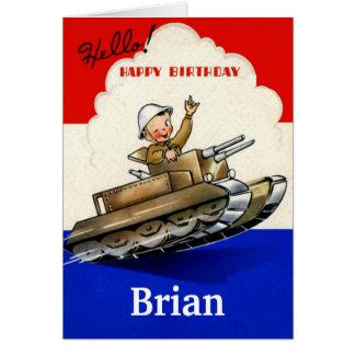 Tarjeta de cumpleaños militar del vintage