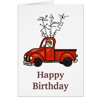 Tarjeta de cumpleaños móvil del camión del aparejo