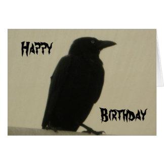 Tarjeta de cumpleaños negra del cuervo