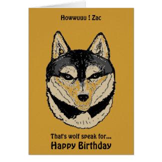 Tarjeta de cumpleaños nombrada cara del lobo