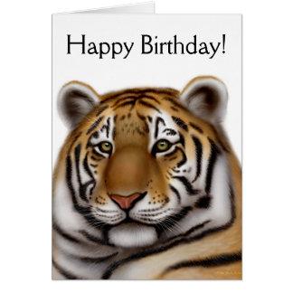 Tarjeta de cumpleaños orgullosa del tigre de Benga