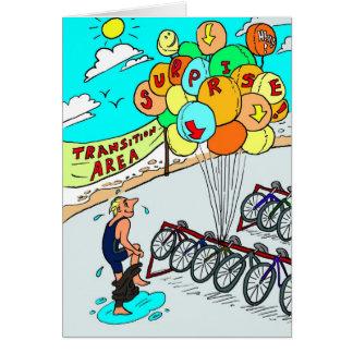 Tarjeta de cumpleaños para el ciclista - globos de