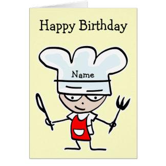 Tarjeta de cumpleaños para el cocinero o el cocine