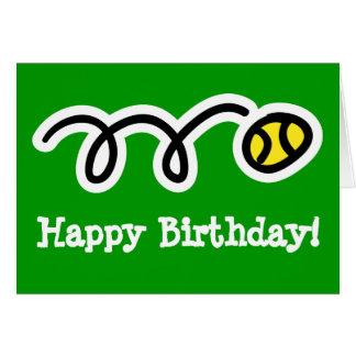 Tarjeta de cumpleaños para el jugador de tenis y l