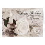 Tarjeta de cumpleaños para el prometido, la vela y