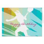 Tarjeta de cumpleaños para el tenis con diseño del