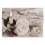 Tarjeta de cumpleaños para la abuela, la vela y su