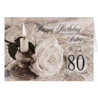 Tarjeta de cumpleaños para la hermana, 80.  La vel