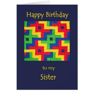 Tarjeta de cumpleaños para la hermana - edredón de