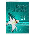 Tarjeta de cumpleaños para la hija 21, con un liri