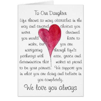 Tarjeta de cumpleaños para la hija con el corazón
