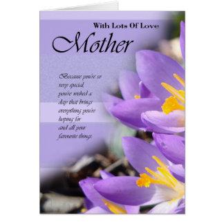 Tarjeta de cumpleaños para la madre, tarjeta de la