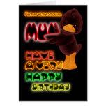Tarjeta de cumpleaños para la momia, neón con el p