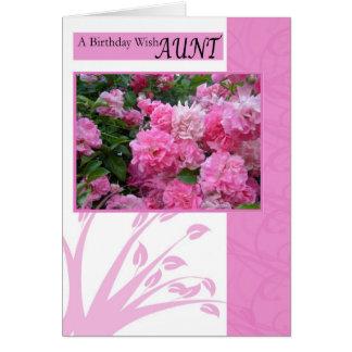 Tarjeta de cumpleaños para la tía, rosas del rosa