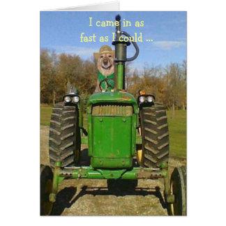 Tarjeta de cumpleaños para las fans del tractor
