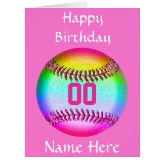 Tarjeta de cumpleaños PERSONALIZADA del softball,