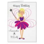 Tarjeta de cumpleaños personalizada hada linda