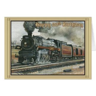 Tarjeta de cumpleaños por 80 años con el tren