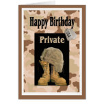 Tarjeta de cumpleaños privada del ejército militar