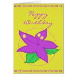 Tarjeta de cumpleaños púrpura de la flor