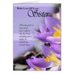 Tarjeta de cumpleaños púrpura del azafrán de la he