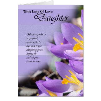 Tarjeta de cumpleaños púrpura del azafrán de la hi
