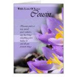 Tarjeta de cumpleaños púrpura del azafrán del prim