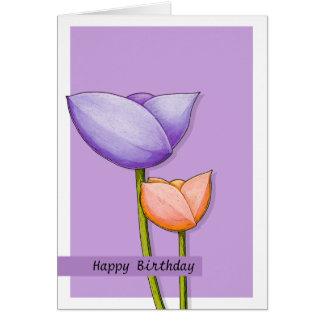 Tarjeta de cumpleaños púrpura del naranja 2 de las