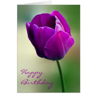 Tarjeta de cumpleaños púrpura del tulipán