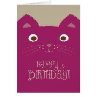 Tarjeta de cumpleaños púrpura linda del gato
