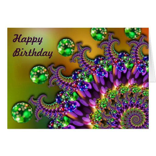 Tarjeta de cumpleaños púrpura y verde del modelo d