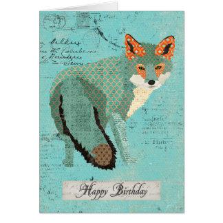 Tarjeta de cumpleaños retra ambarina del Fox de Sm