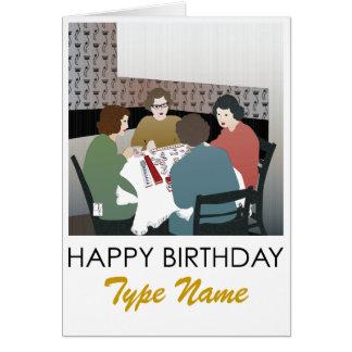 Tarjeta de cumpleaños retra del Mah Jongg