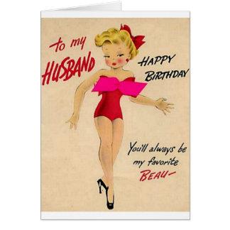 Tarjeta de cumpleaños retra para el marido