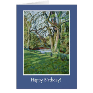 Tarjeta de cumpleaños - Riverbank en primavera