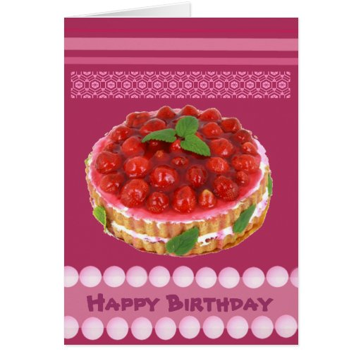 Tarjeta de cumpleaños roja de la torta de la fresa