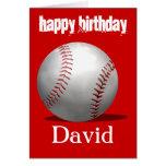 Tarjeta de cumpleaños roja del béisbol