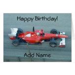 Tarjeta de cumpleaños roja del coche de competició