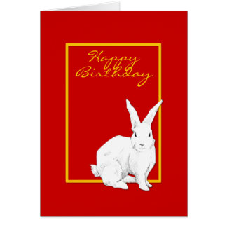 Tarjeta de cumpleaños roja del conejo