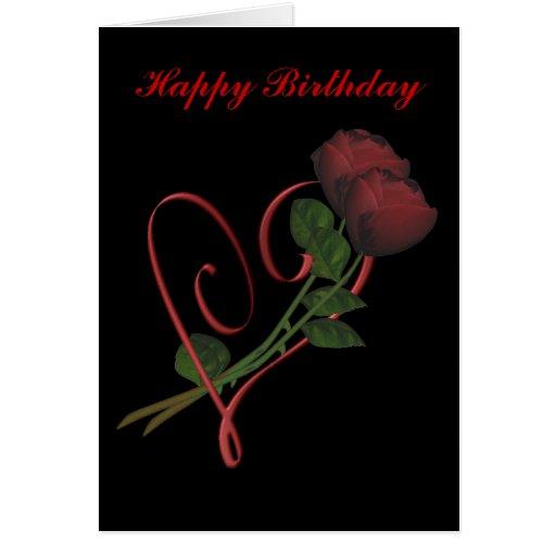 Tarjeta de cumpleaños roja del corazón de los rosa