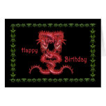 Tarjeta de cumpleaños roja doble del dragón