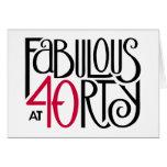 Tarjeta de cumpleaños roja negra 40 fabulosos