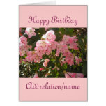 Tarjeta de cumpleaños rosada de la flor de la azal