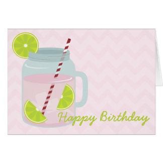 Tarjeta de cumpleaños rosada de la limonada y de