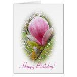 Tarjeta de cumpleaños rosada de la magnolia