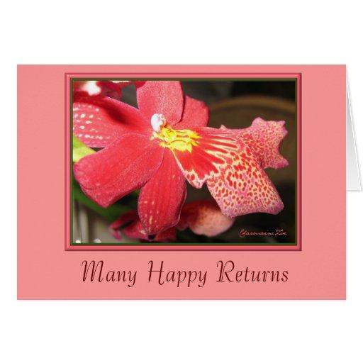 Tarjeta de cumpleaños rosada de la orquídea: