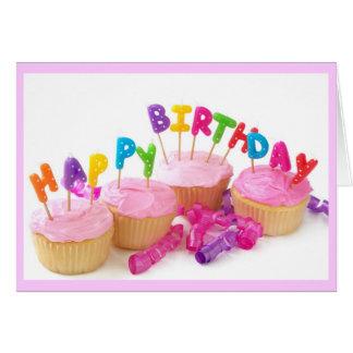 Tarjeta de cumpleaños rosada de las magdalenas par